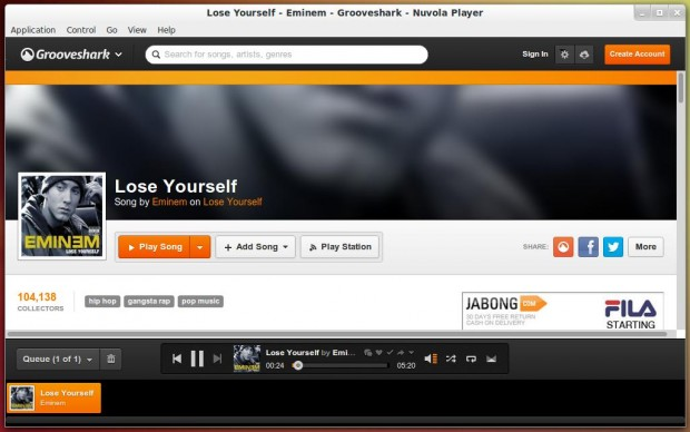 Grooveshark Playing Music