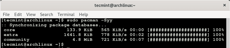 Update Arch Linux Packages