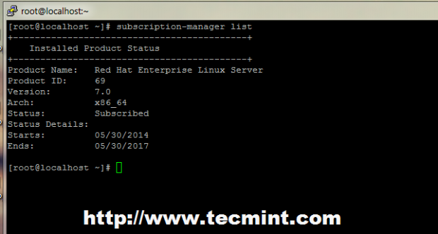 Check Enabled Red Hat Subscription Lists