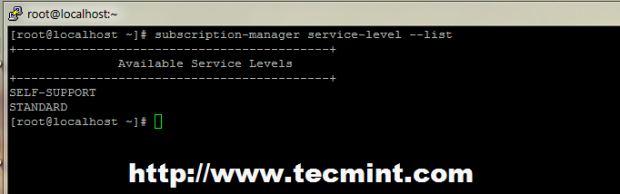 List RHEL Available Service Levels