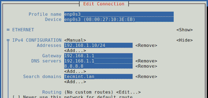 How to Configure Network Static IP Address and Manage Services on RHEL/ CentOS 7.0