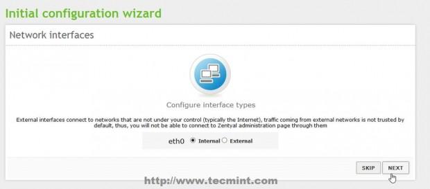 Configurar la interfaz de red Zentyal