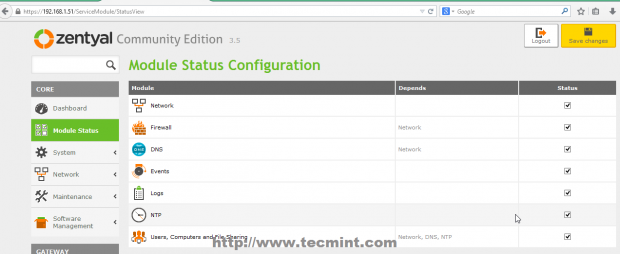 Module Status Configuration