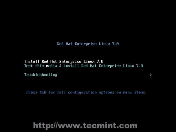 Install Red Hat Enterprise Linux 7.0