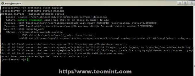 Start MariaDB Database
