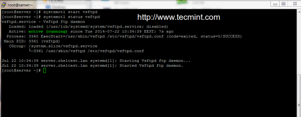 Start vsftpd in CentOS 7