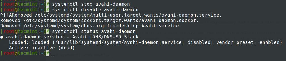 Stop Avahi Daemon