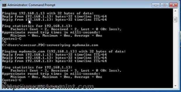 Ping Domain to Confirm