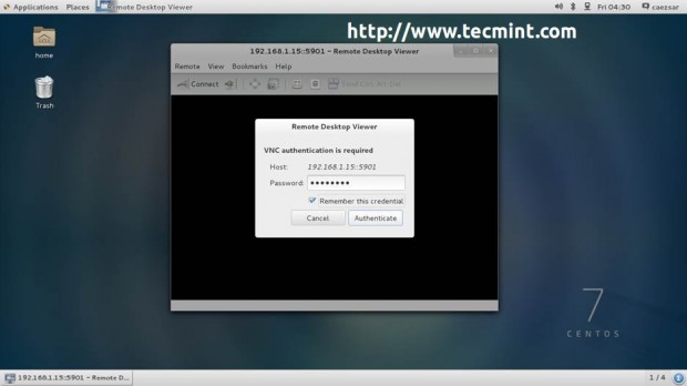 Authenticate to Remote VNC