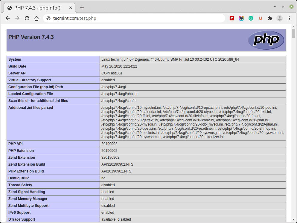 Check PHP Info in Ubuntu