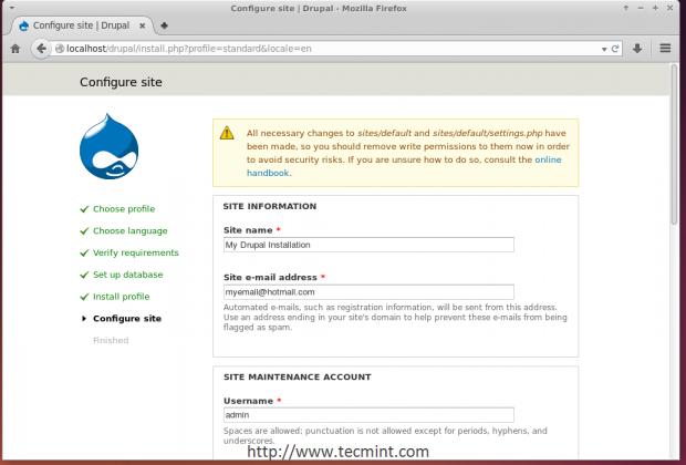 Configure Drupal Site