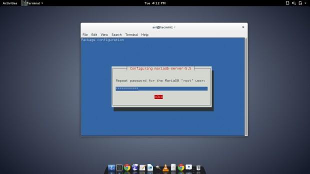 Confirm MariaDB Password