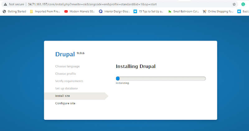 Drupal Installation Progress