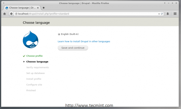 Select Drupal Installation Language