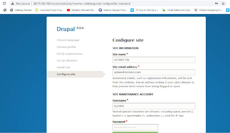 Set Drupal Site Settings