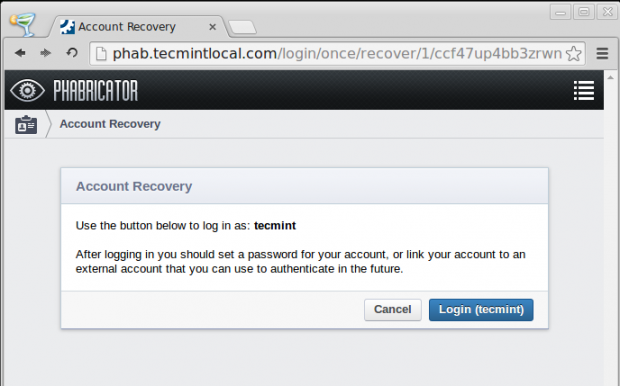 Phabricator Account Recovery