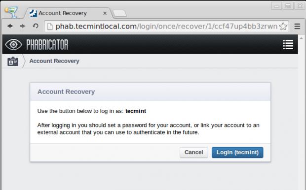 Phabricator Account Recovery