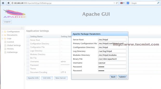 Apache GUI Configuration