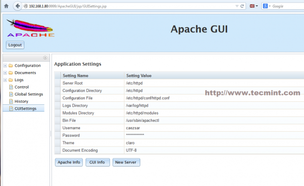 ApacheGUI Settings