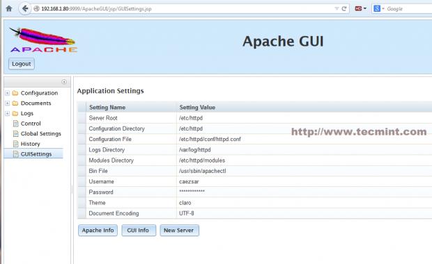 ApacheGUI Settings