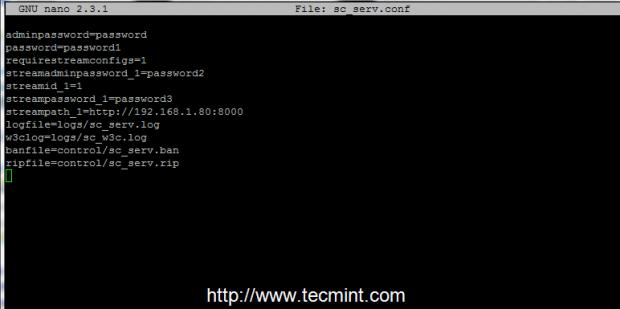 Configure Shoutcast Server
