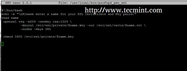 Create Proftpd SSL Certificate