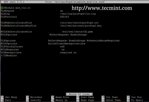 Create Proftpd TLS Configuration