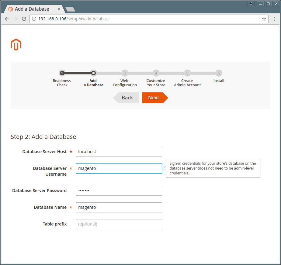 Magento Database Settings
