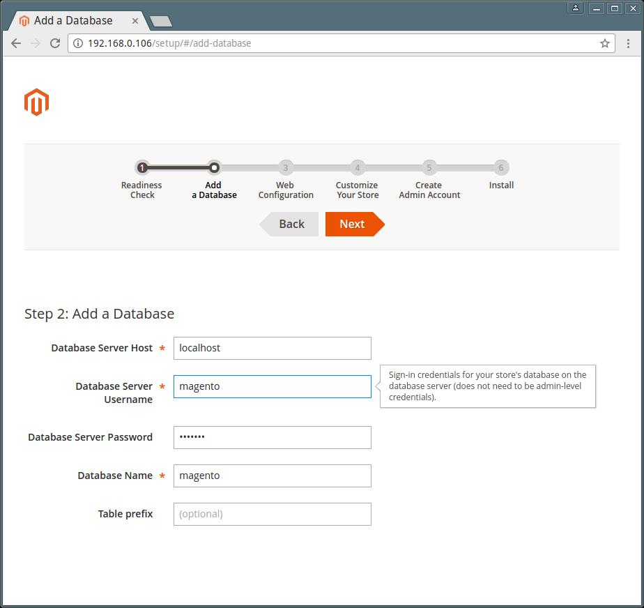 Magento Database Settings