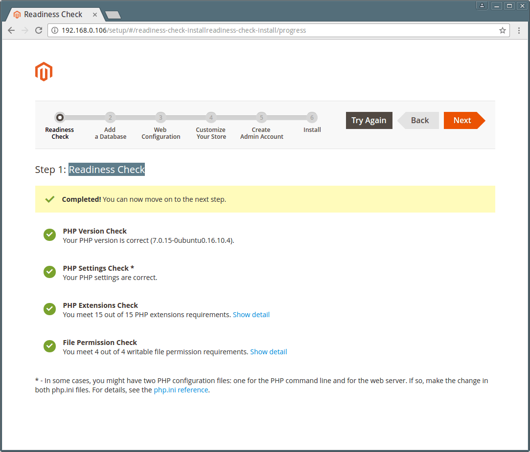 Magento Readiness Check Summary