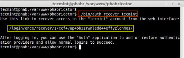 Recover Phabricator Admin Password