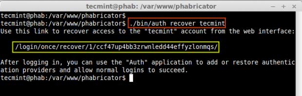 Recover Phabricator Admin Password