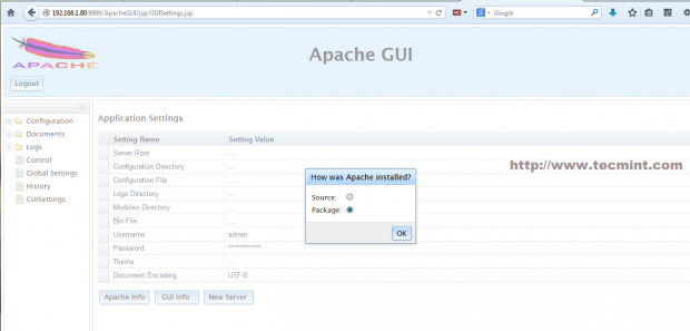 Select ApacheGUI Installation Type