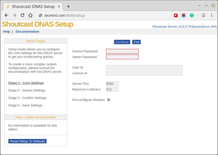 Shoutcast DNAS Setup