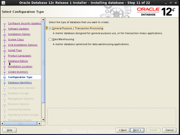 Oracle Configuration Type