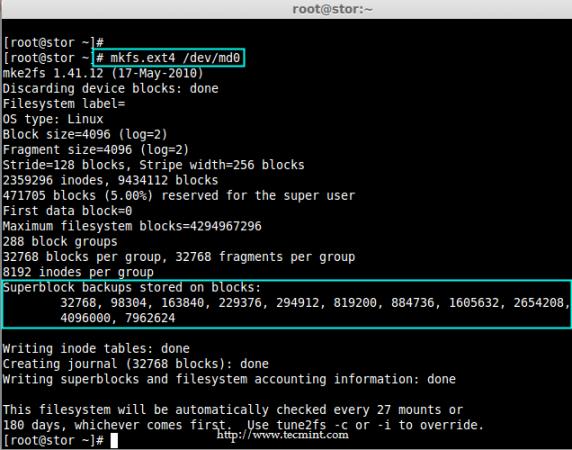 Crear sistema de archivos ext4 en Linux