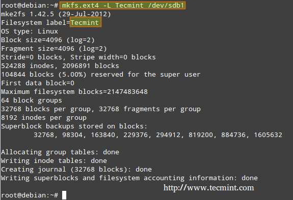 Create ext4 Filesystems in Linux