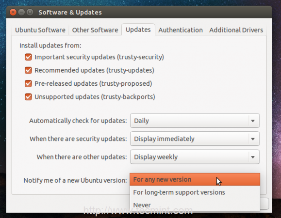 Notify Ubuntu Version