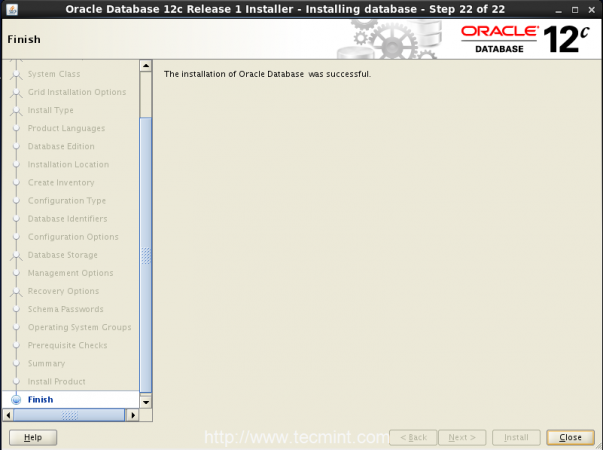 Oracle Installation Completed