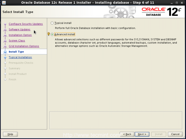 Select Oracle Advance Install