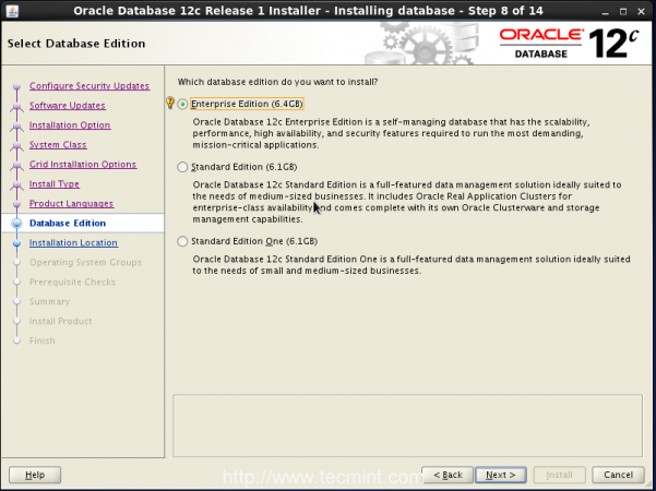 Select Oracle Database Edition