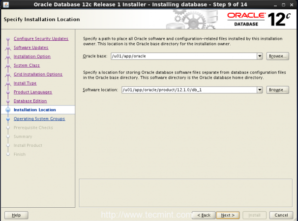 Select Oracle Installation Location