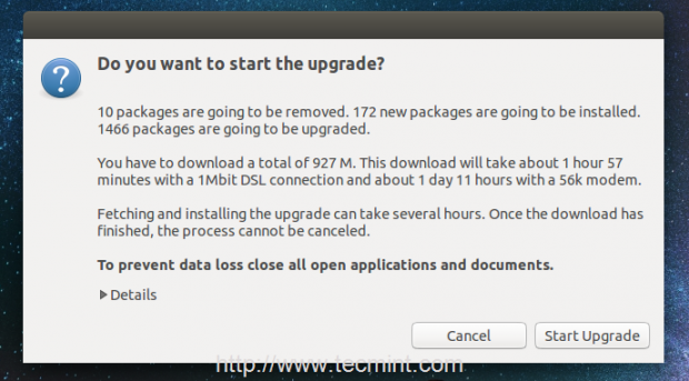 Start Ubuntu Upgrade
