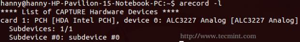 Check Audio Input in Ubuntu