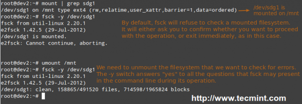 Scan Linux Filesystem for Errors