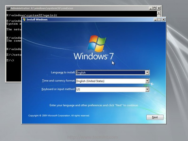 Choose Windows 7 Language