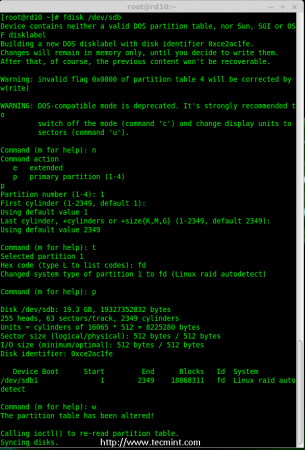 Disk sdb Partition