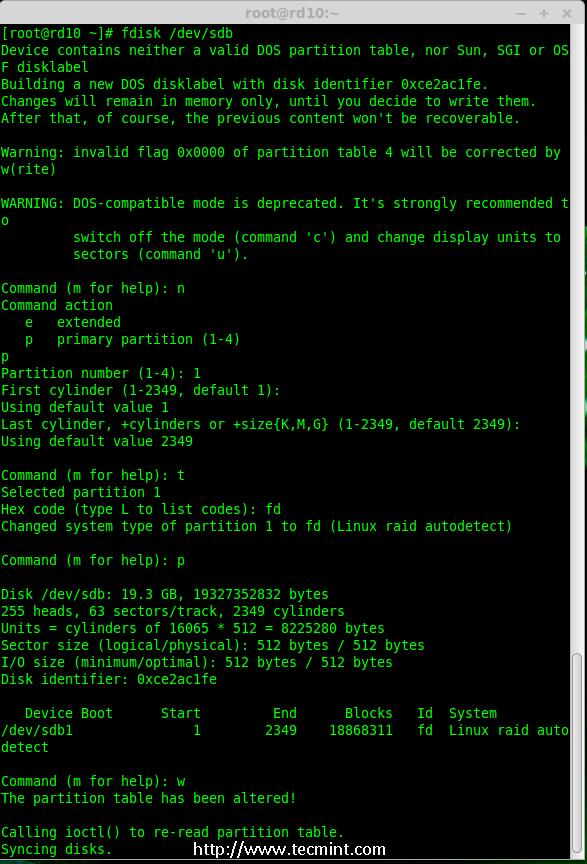 fdisk pour linux