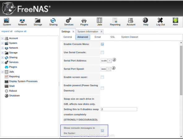 Enable FreeNAS Console Message