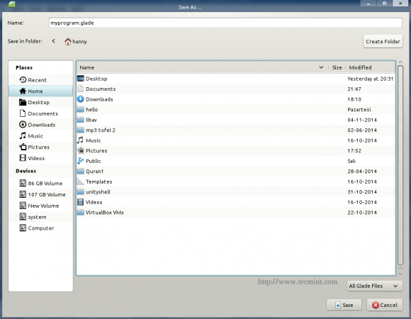 Glade Export Widget File